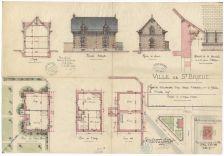 Ville de Saint-Brieuc. Projet de construction d'une maison d'habitation pour le gardien du cimetière neuf. |